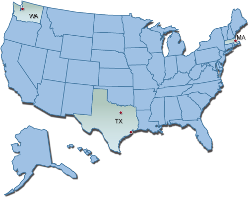 Map of the United States indicating the location of the 4 Burn Model Systems in Washington, Texas, and Massachussets